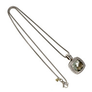 Estate David Yurman Albion Prasiolite Diamond Pendant Silver