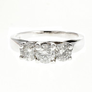 Estate 3 Stone Diamond Ring 14k White Gold