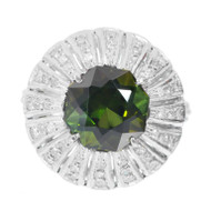 Vintage 1940 Octagonal Green Tourmaline Ring Palladium Single Cut Diamonds