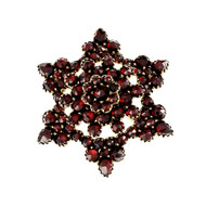 Estate 1900 Rose cut Garnet Star Pin 10k Yellow Gold