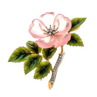 1950 Rose Quartz Jade Diamond 14k 3-D Flower Pin