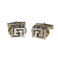 Versace Cuff Links Sterling Silver 14k White Gold