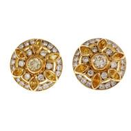 Estate Button Diamond Earrings 18k Yellow Gold White Yellow Irradiated Diamonds