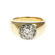 Men's Estate Diamond Ring Old European Cut 14k Gold Platinum