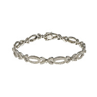 Estate Hinged Link Bead Set Diamond Bracelet 14k White Gold