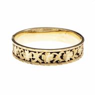 Estate 1960 Pierced Engraved Bangle Bracelet Black Background 14k Gold
