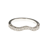 Curved Diamond Pavé Wedding Band Platinum Pierced & Engraved
