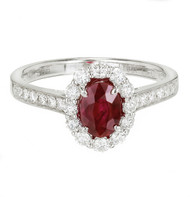 Oval Ruby Diamond Halo Ring 14k White Gold
