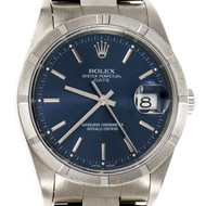 Rolex 15210 Date Steel Wrist Watch 3499 Blue Dial Oyster Band