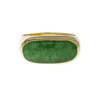 Estate Jadeite Jade GIA Certified Ring 18k Yellow Gold