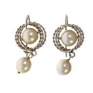 Estate 1960 Cultured Pearl Dangle Earrings 14k White Gold