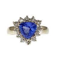 Estate Trilliant Tanzanite Diamond Halo Ring 14k White Gold
