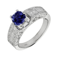 Bright Vivid Blue Sapphire Engagement Ring Round Baguette Diamond 18k