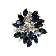 Vintage 1960 Marquise Sapphire Dome Ring 18k White Gold Diamond