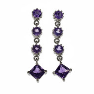 Amethyst Dangle Earrings Square & Round Amethyst 18k White Gold