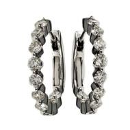 Diamond Hoop Earrings Inside Out Style 14k White Gold