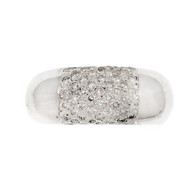 Estate 1960 Dome Ring Pavé Diamond 14k White Gold