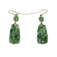 Vintage Jadeite Jade Dangle Earrings 14k Yellow Gold
