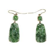 Vintage Jadeite Jade Dangle Earrings 14k Yellow Gold
