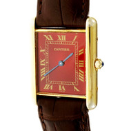 Cartier Tank Quartz Wrist Watch Custom Refinished Red Dial 6 81006