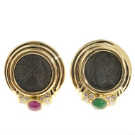 Ancient Roman Coin Earrings 18k Yellow Gold Designer Olsen Ruby Emerald Diamond
