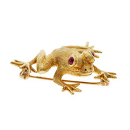 Estate Cellino Frog Pin 18k Yellow Gold