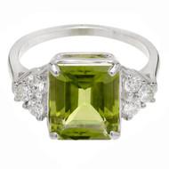 Emerald Cut Peridot Ring 14k White Gold Diamond