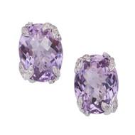 Bright Medium Purple Oval Amethyst Diamond Earrings 14k White Gold