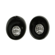Carved Elliptical Black Onyx Earrings Diamond 14k White Gold
