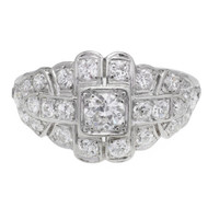 Art Deco Bead Set Diamond Dome Ring Platinum Open Work