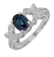 "1.00ct Bright Blue Sapphire Ring ""X"" Design 18k White Gold Diamond"