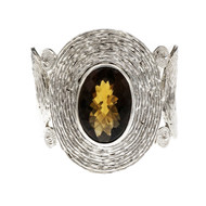 Designer Marya's Large Silver Cuff Bracelet Smoky Quartz