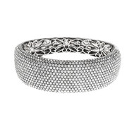 Black Rhodium Bangle Bracelet Pavé Set Cubic Zirconia Sterling Silver