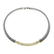 Estate David Yurman Two Row Cable Necklace Choker 14k Silver