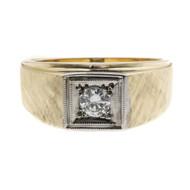 Vintage 1960 Men's Diamond Ring 14k Yellow Gold