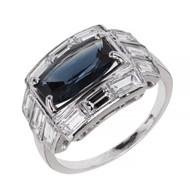 Art Deco 1930 Greenish Blue Natural Sapphire Ring Platinum Baguette Diamond