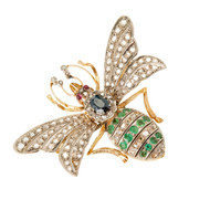 Victorian En Tremblant Honey Bee Pin. Sappphire Diamond Emeral 14K Gold