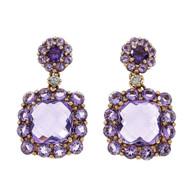 Amethyst Dangle Earrings Pink Gold 18k Diamond