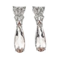 Estate 1940 Morganite Earrings Platinum Diamond