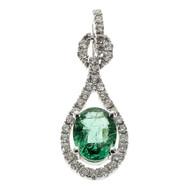 Bright Green Emerald Pendant Diamond 14k White Gold