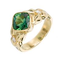 Cushion Gem Green Tourmaline Ring 18k Yellow Gold Diamond