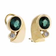 Bright Green Tourmaline Diamond Swirl Earrings 14k Yellow Gold