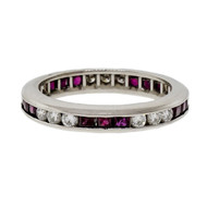 Byard F. Brogan Ruby Diamond Eternity Ring Platinum