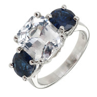Peter Suchy 5.65ct Certified No Heat Octagonal Sapphire Ring Platinum