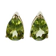 Bright Green Peridot Earrings Pear Shaped 14k Gold
