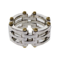 Tiffany & Co Gate Link Ring Silver 18k Gold Mesh Gate Link
