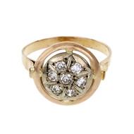 Vintage Russian Rose Gold Diamond Ring 14k