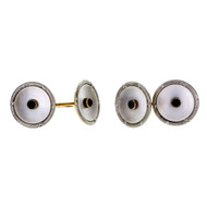 Art Deco 1920 Double Sided Cuff Links Platinum 14k Gold Sapphire Mother Of Pearl