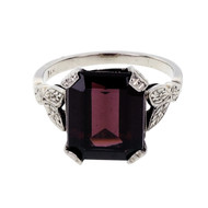 Art Deco 1935 Rhodolite Garnet Emerald Cut Engagement Ring 14k White Gold