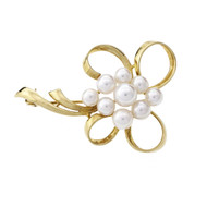 Mikimoto Flower Pin Cultured Peral 18k Yellow Gold